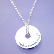 .925 Sterling Silver Pi Disc Necklace | Serenity Prayer Wisdom Courage Strength