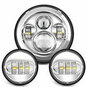 7 Motorcycle Chrome Projector Daymaker Hid Led Headlight Passing Lights Harley