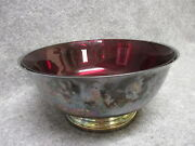 Vintage Gorham Silver Plated Footed Bowl 9 W/ Ruby Glass Liner Insert Ep Yc781