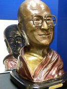 Bronze Sculpture Of His Holyness The Dalai Lama And The Buddha Within.
