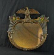Vintage Decorative Gold Gilt And Polychrome Painted Mirror W/ Eagle Nice