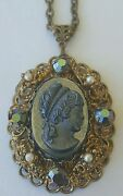 Western Germany Victorian Style Costume Jewelry Necklace Broach Pendant 24