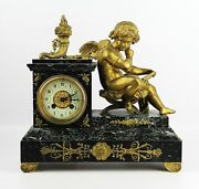 Antique French High Quality 19th Century Mantel Bronze Cupid Clock 13 Tall