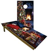 Christmas Cornhole Beanbag Toss Game W Bags Game Boards Holiday Party Set