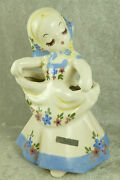 "Vintage 1943 DeLee Art Girl Nina Figurine Vase California Pottery 7"" Tall"