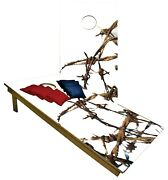 Cornhole Boards Beanbag Toss Game W Bags Metal Barbed Wire Fence Fencing