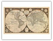 World Captain Cook Vintage Engraved Cartographic Map Art Poster Print Giclee