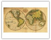 World Map Captain Cook Discovery Track Vintage World Map Art Poster Print Giclee