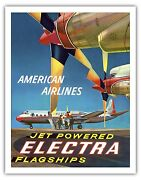 Electra Flagship Lockheed Vintage Airline Travel Art Poster Print Giclee