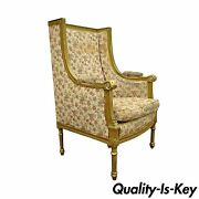 Antique French Louis Xvi Victorian Gold Gilt Wood Wing Back Bergere Armchair