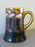 Rare Antique C. 1889 Cac American Belleek Mug Hand Painted Peacock Birds And Gold