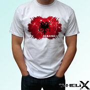 Albania - White T Shirt Top Country Flag Design - Mens Womens Kids And Baby Sizes