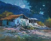 Beautiful Colorful Andean Landscape W/ Farmhouse Oil On Canvas Signed Raval