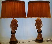Vintage Rembrandt Table Lamps Set Of 2 With Original Shades- Rare