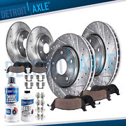 Front And Rear Drilled Slotted Rotors + Ceramic Brake Pads For 2004-2008 Acura Tl