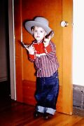 Vintage Slide Cute Little Boy In Cowboy Outfit With Toy Pistols And Cowboy Hat