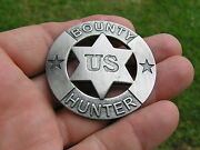 Old West - Bounty Hunter Badge - High Quality Antique Silver - Marshal Sheriff
