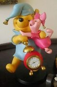 Extremely Rare Walt Disney Winnie The Pooh With Piglet Clock Figurine Statue
