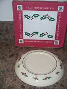 Longaberger Pottery Holiday Pillar Candle Holder In Holly Woven Traditions Nib
