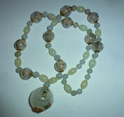 Vintage Chinese Quartz Bead And Inside Painted Bead Buddhist Monk Necklace
