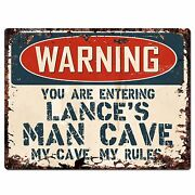 Pp3360 Warning Entering Lanceand039s Man Cave Chic Sign Home Decor Funny Gift