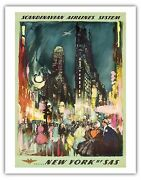 New York Usa Times Square Vintage Airline Travel Art Poster Print Giclée