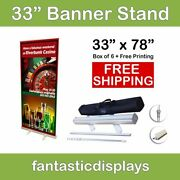 33 Retractable Roll Up Banner Stands With 33x78 Prints Included Box Of 6