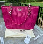 Coach Nwot 20522 Madison Gathered Leather Tote Silver/magenta Gorgeous Purse