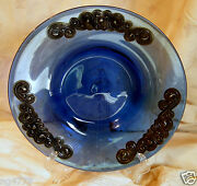 1890 German Cobalt Blue Glass And Silver Inlay Bowl