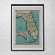Florida Map Print - Vintage Map Of Florida - Old Map Print Vintage Wall Art