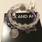 Alex And Ani Initial F Ice Flare And Sugar Rush Grape Set Of 3 In Rs Nwt