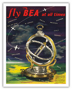 Universal Ring Dial World Route Map Bea Vintage Art Poster Print Giclée