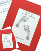 My First Christmas/merry Xmas Baby Inkless Footprint Kit In 8x10 Mount
