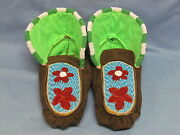 Native American Full Beaded Moccasins 10 Inches Stunning Ruby Flowers Design
