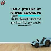 Jedi Harry Potter Style Quote Wand Lightsaber Vinyl Wall Art Sticker Quote Mural