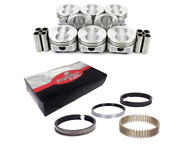 Flat Top Pistons And Pins W/ Cast Rings For Chevrolet Sbc 350 5.7l