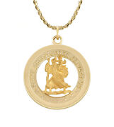 Ladies 1.0in Solid 14k Yellow Gold St Saint Christopher Pendant Medal Necklace