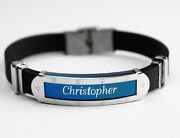 Christopher - Mens Silicone And Blue Name Plate Engraved Bracelet - Gifts For Him