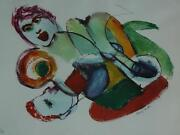 Abstract Mid Century Untitled Erotic Lithograph Signed By Henry Miller 11/100