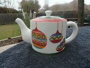 Christopher Radko It's Christmas Multicolored Ornaments White Covered Teapot