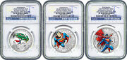 2014 Canada Superman 3-coin Silver Set - Ngc Pf70 First Releases - Only 22 Exist
