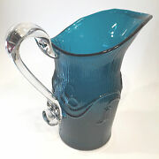Antique Blown Pitcher W/ Slim Ribbing And Bellflower Pattern Museum Quality