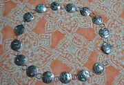 Vintage Antique Navajo Sterling Silver And Turquoise Discs Concho Belt