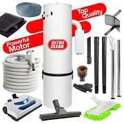 New 7500 Sq Ft Home Central Vacuum 35and039 Electric Hose Powerhead Kit