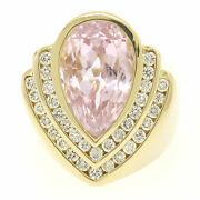14k Yellow Gold Bezel Pear Morganite And Diamond Channels 8.05ctw Large Ring