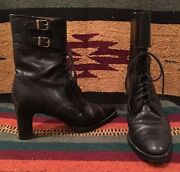 Collection Black Leather Lace-up Granny Victorian Boots 7b Italy