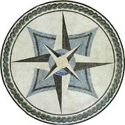 Elegant Nautical Compass Abstract Modern Decor Marble Mosaic Md958