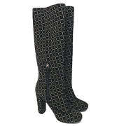 L-36021239 New Black Silver Mini Chains Boots Size Us-9.5 Marked-39.5
