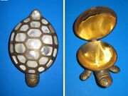 Brass Turtle Mother Of Pearl Shell Lid Opens/closes Jewelry Secret Trinket Box