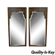 Pair Of Vintage 49 X 23 Drexel Oriental Asian James Mont Ming Style Wall Mirrors